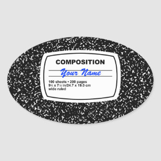 Composition Notebook Customizable Oval Sticker