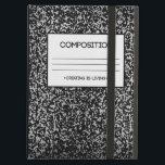 """Composition Notebook Design iPad Air Case<br><div class=""""desc"""">Image of composition notebook design with the quote &quot;Creating is Living&quot;</div>"""