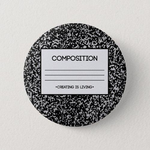 Composition Notebook Design Pinback Button