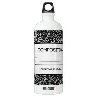 Composition Notebook Design Water Bottle