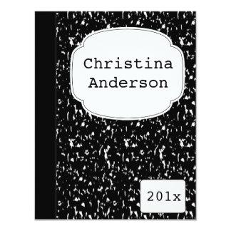 "Composition Notebook Graduation Invitation 4.25"" X 5.5"" Invitation Card"