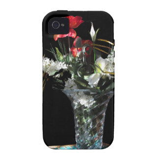 Composition of flowers on black background iPhone 4/4S cases