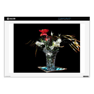 Composition of flowers on black background laptop decal