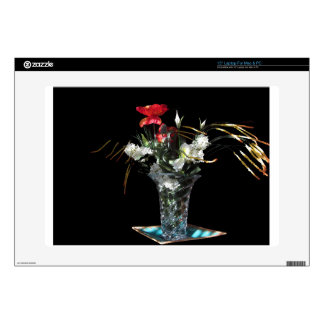 Composition of flowers on black background laptop skin