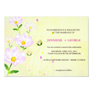 Composition Of Pink Flowers, Invitation