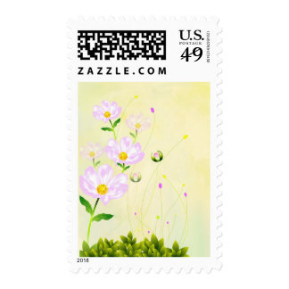 Composition Of Pink Flowers, Stamp