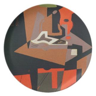 Composition (oil on canvas) melamine plate