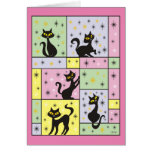 Composition with 5 Black Cats Card