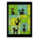 Composition with 5 Black Cats Halloween Colors Card
