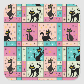 Composition with 5 Black Cats Square Sticker