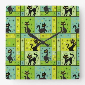 Composition with 5 Black Cats Square Wall Clock