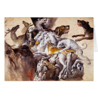COMPOSITION WITH ANIMALS,REARING HORSES,DEERS,DOGS CARD