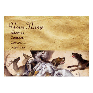 COMPOSITION WITH ANIMALS,REARING HORSES,DEERS,DOGS LARGE BUSINESS CARDS (Pack OF 100)