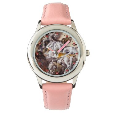 Professional Business COMPOSITION WITH ANIMALS,REARING HORSES,DEERS,DOGS WRIST WATCH