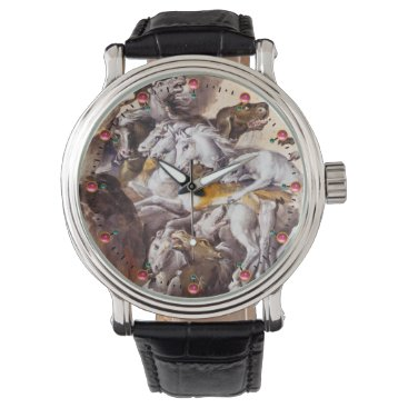 Professional Business COMPOSITION WITH ANIMALS,REARING HORSES,DEERS,DOGS WRISTWATCH