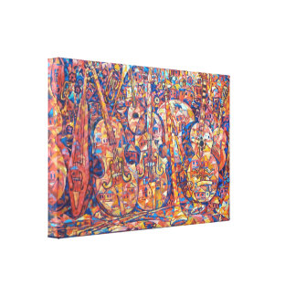 Composition with musical instruments Wrapped Canva Canvas Print