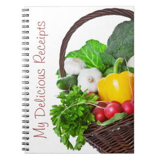 Composition With Raw Vegetables And Wicker Basket Spiral Notebook