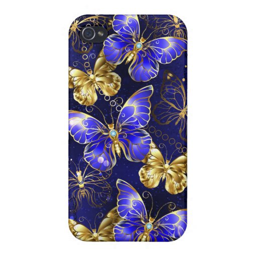 Composition with Sapphire Butterflies Case For iPhone 4
