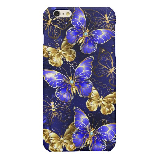 Composition with Sapphire Butterflies Glossy iPhone 6 Plus Case