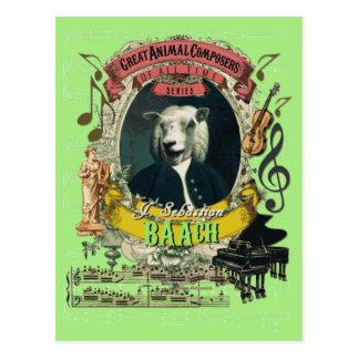 Compositor animal Bach de las ovejas divertidas de Tarjetas Postales