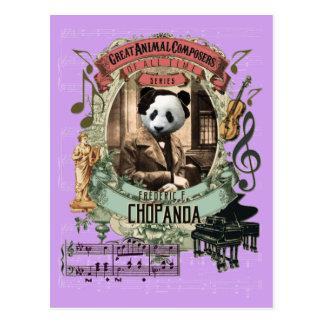 Compositor animal Chopin de la panda divertida de Postal