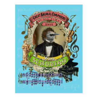 Compositor animal Schubert del pájaro divertido de Postal