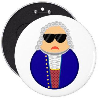 Compositor divertido de Johann Sebastian Bach Pin Redondo De 6 Pulgadas
