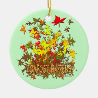 Compost Happens Double-Sided Ceramic Round Christmas Ornament