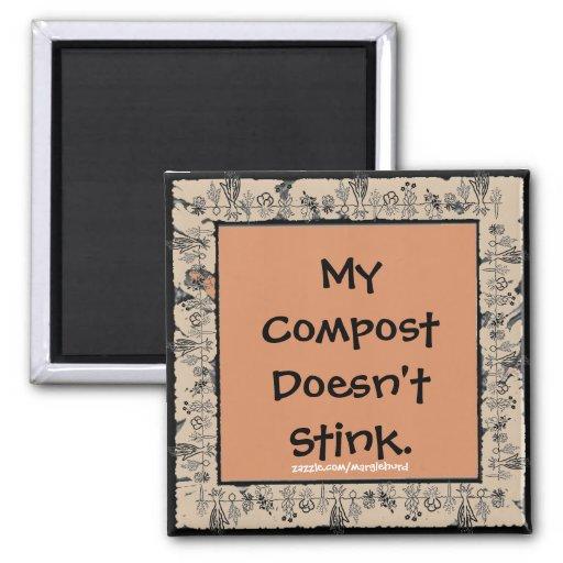 compost joke fridge art 2 inch square magnet