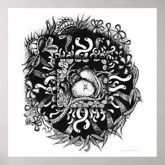 Compost Mandala - Black on White Poster