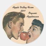 Compota de manzanas de enlatado casera de Apple Pegatina Redonda