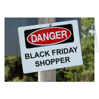Comprador negro de viernes del peligro tarjeta de felicitación