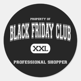 Comprador negro del profesional de club de viernes etiqueta redonda