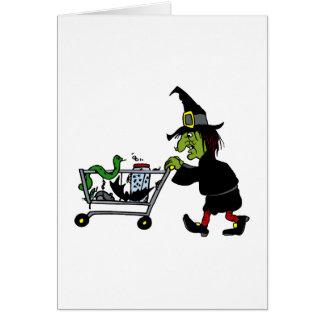Compras de la bruja para las fuentes tarjeta