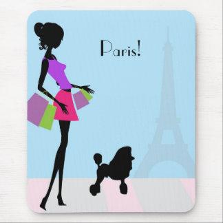 Compras de la mujer en cojín de ratón de París Alfombrilla De Ratones