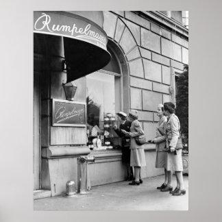 Compras de la ventana los años 40 poster