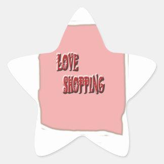 Compras del amor con el fondo pegatina forma de estrella personalizadas