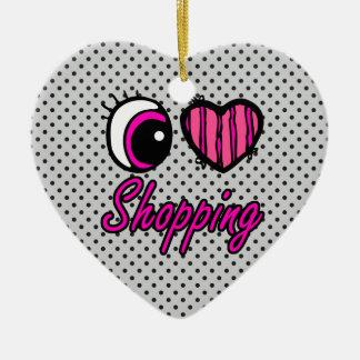 Compras del amor del corazón I del ojo de Emo Adorno De Cerámica En Forma De Corazón