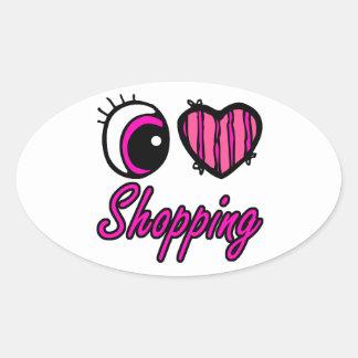 Compras del amor del corazón I del ojo de Emo Calcomania De Ovaladas