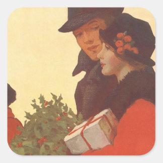 Compras del navidad, del hombre y de la mujer del colcomanias cuadradas personalizadas