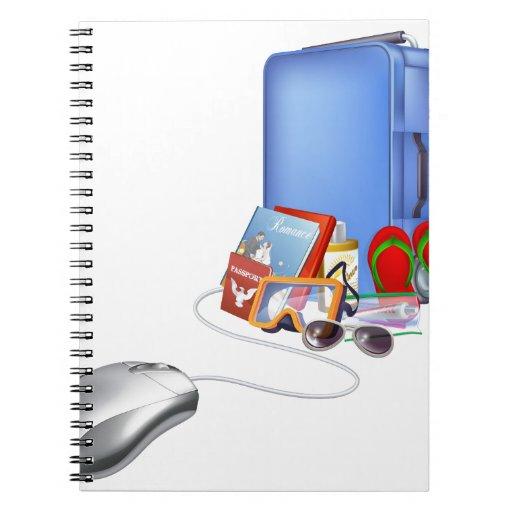 Compras en línea de las vacaciones del día de libros de apuntes