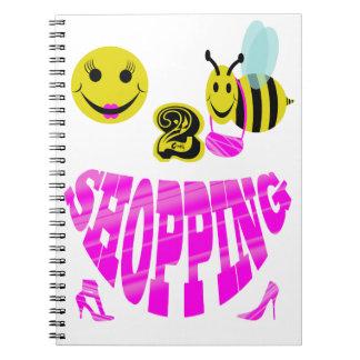 compras felices de 2 abejas spiral notebooks