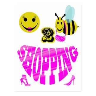 compras felices de 2 abejas tarjetas postales
