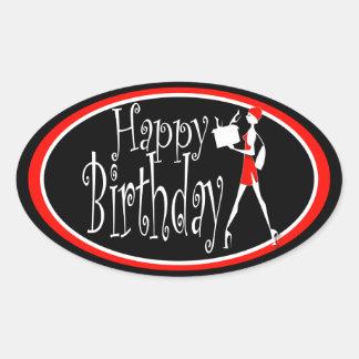 Compras negras rojas del cumpleaños de los chicas calcomanía óval