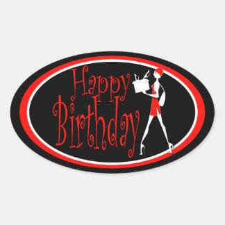 Compras rojas negras del cumpleaños de los chicas calcomanías ovales