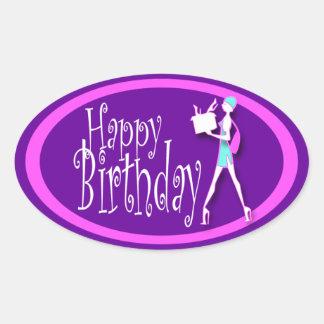 Compras rosadas púrpuras del cumpleaños de los calcomania de oval