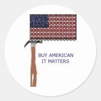 Compre al americano.  Importa Etiquetas Redondas