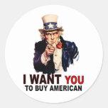 Compre al americano pegatina redonda