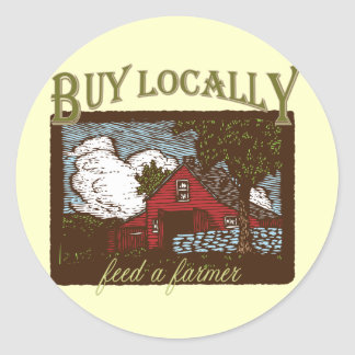 Compre el Local alimente a un granjero Etiquetas Redondas