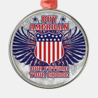 Compre el ornamento americano adorno navideño redondo de metal